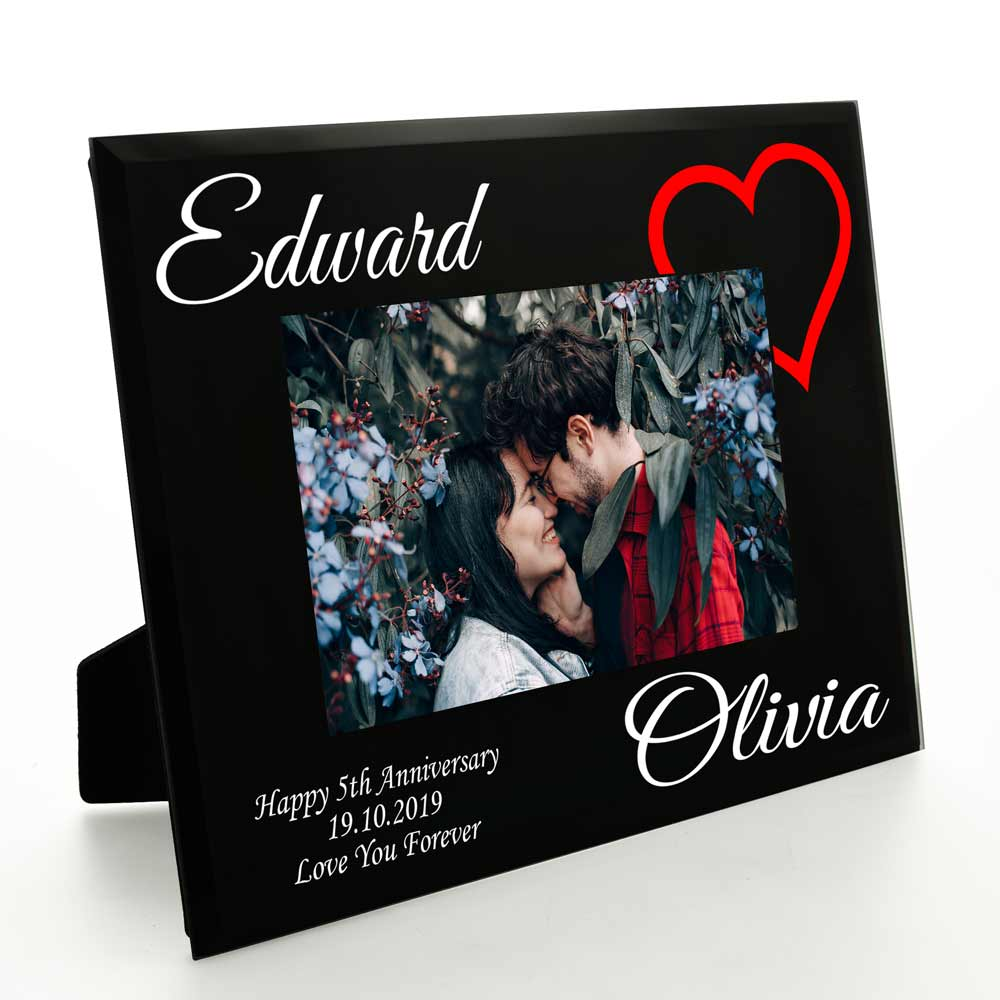 Personalised Love Heart Black Glass Frame For Couples 6 x 4 - Click Image to Close