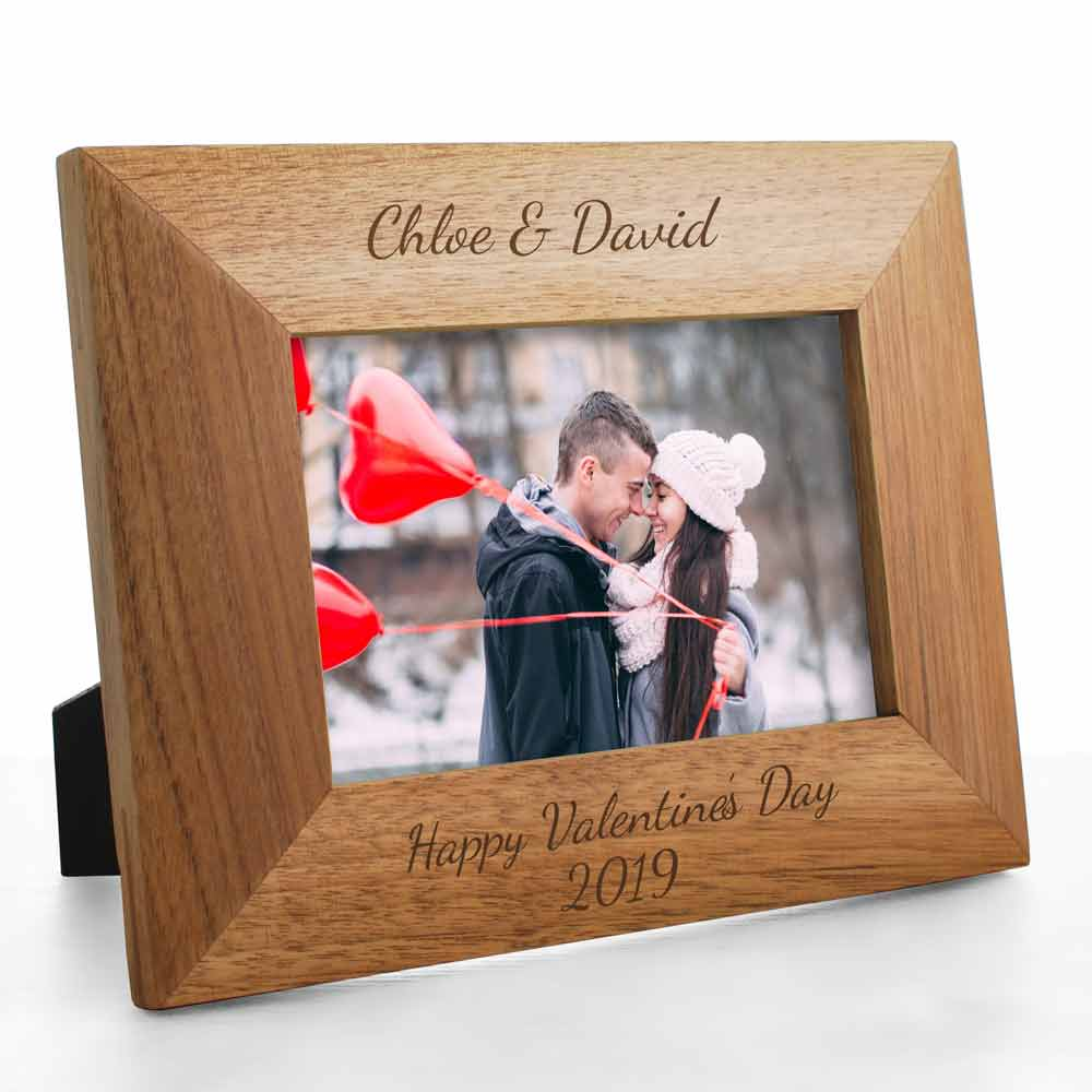 Personalised Oak Photo Frame Any Message - Click Image to Close