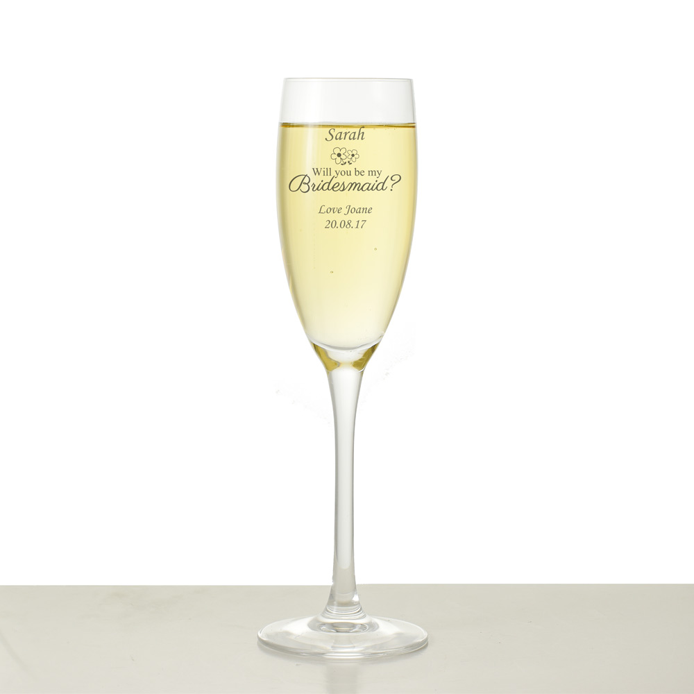 Will You Be My Bridesmaid Personalised Champagne Flute - Click Image to Close
