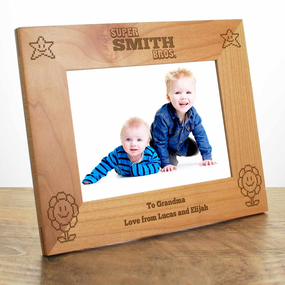 Personalised Super Bros. Maple Photo Frame