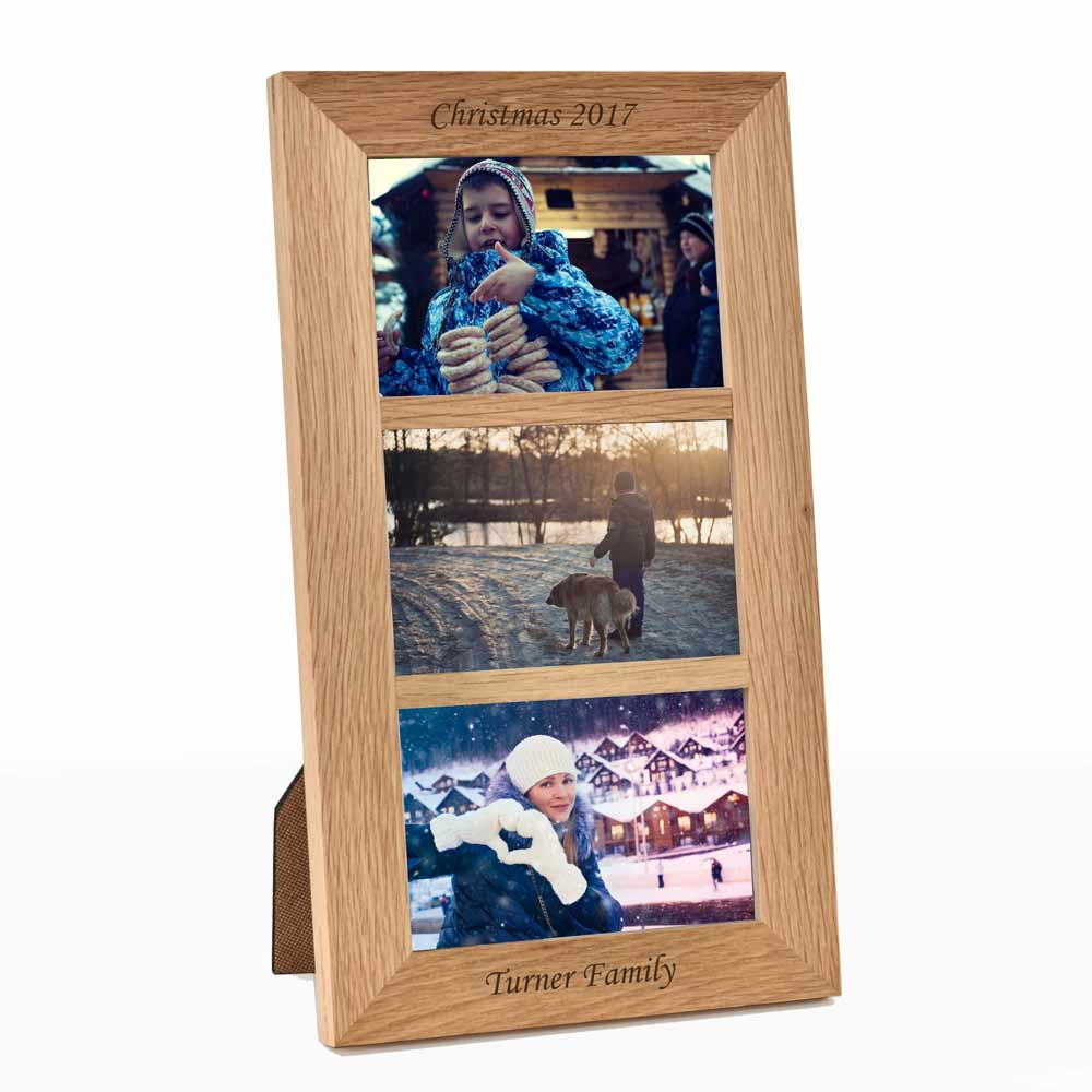 Personalised Triple Aperture Portrait Oak Wooden Frame - Click Image to Close