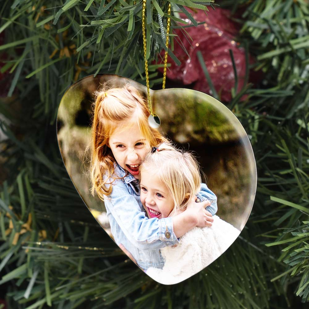 Personalised Christmas Baubles Photo: Personalised Ceramic Heart Photo Bauble Decoration
