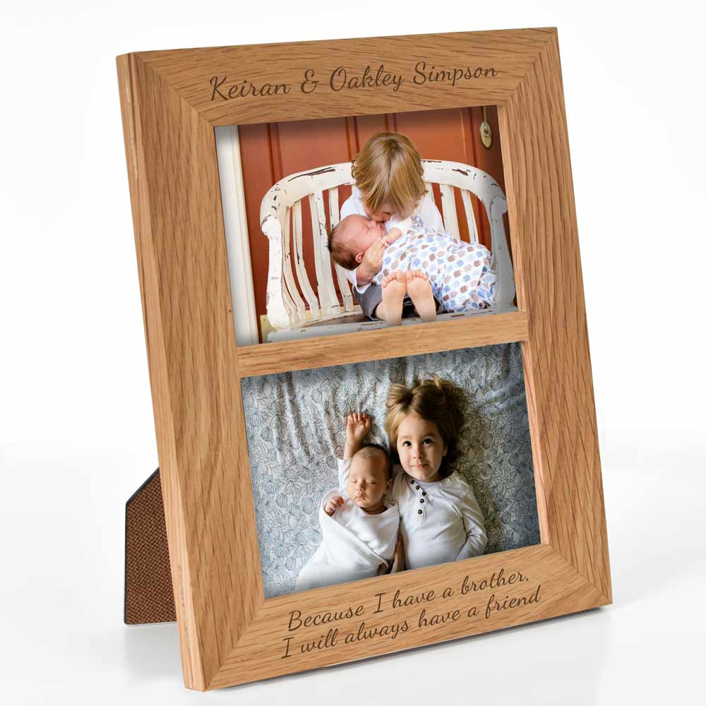 Personalised Oak Portrait Double Photo Frame - Click Image to Close