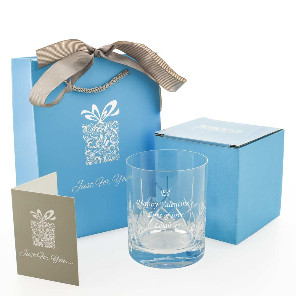 Personalised Panelled Whisky Glass With Luxury Gift Bag And Box