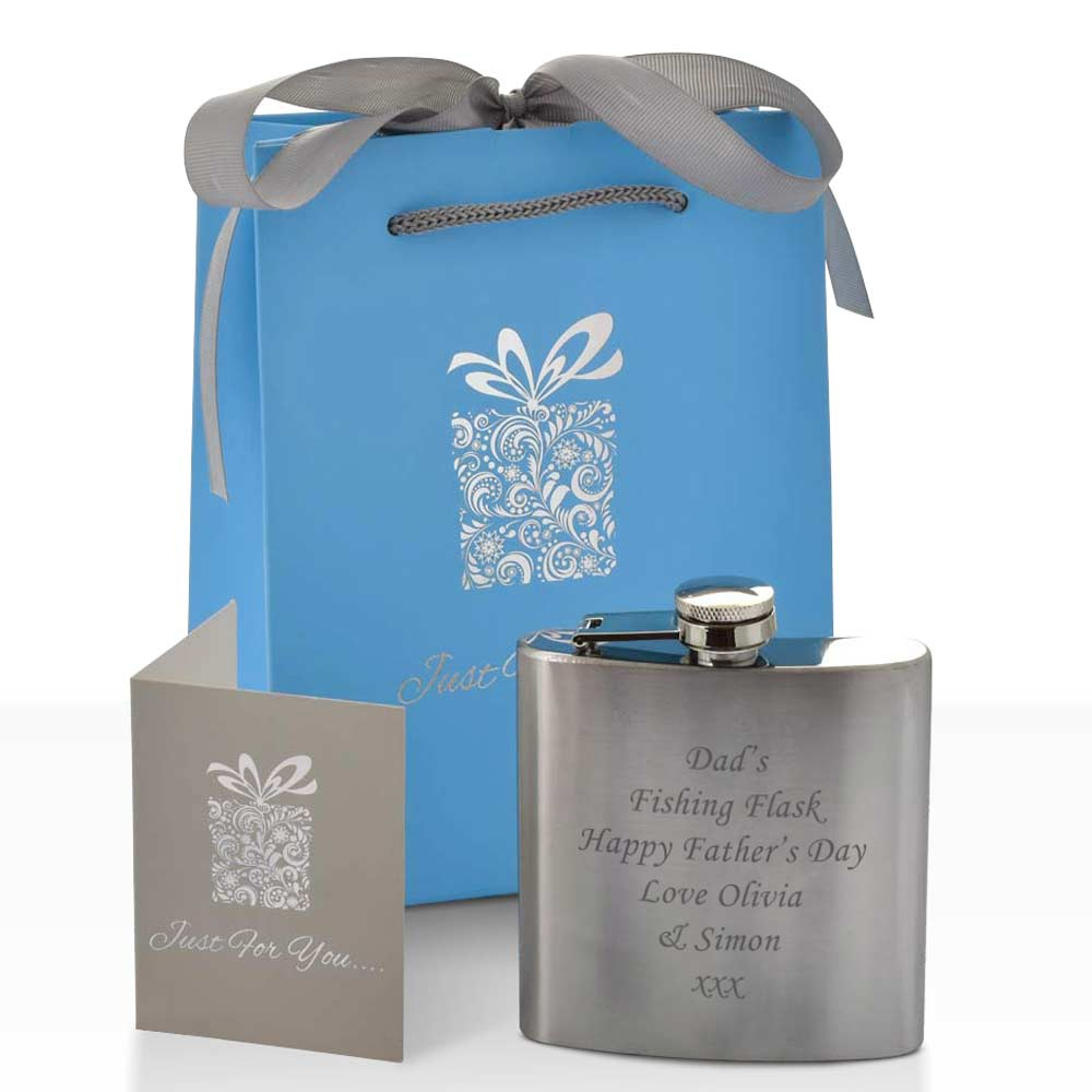 Personalised Hip Flask With Luxury Gift Bag - Click Image to Close