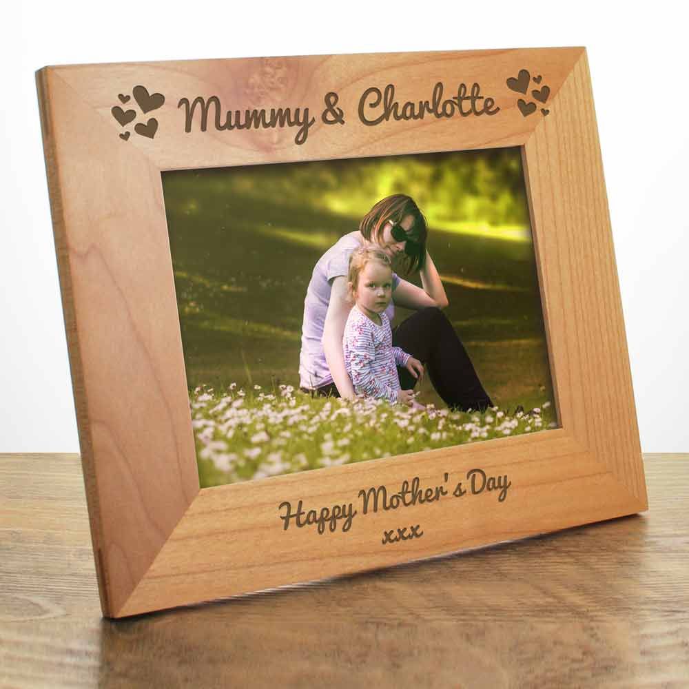 Personalised Love Hearts Wooden Photo Frame - Click Image to Close