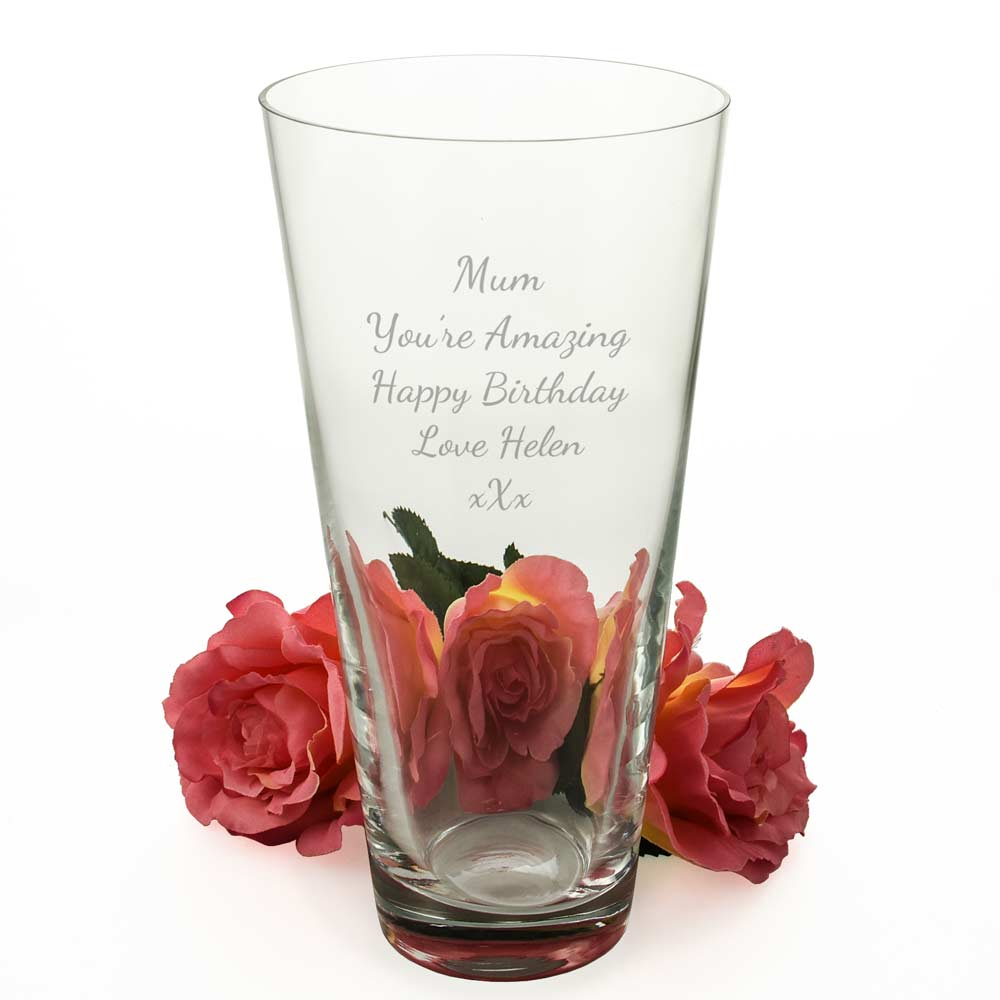 Personalised Classic Conical Vase - Click Image to Close