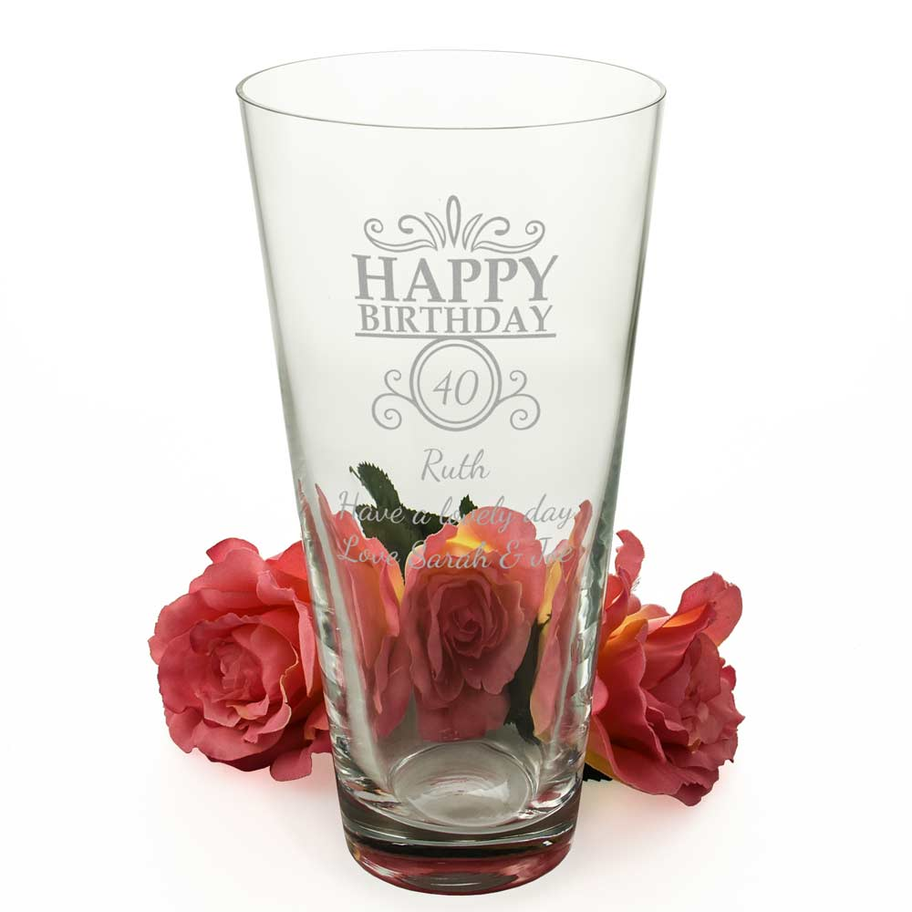 Personalised Happy Birthday Conical Vase - Click Image to Close