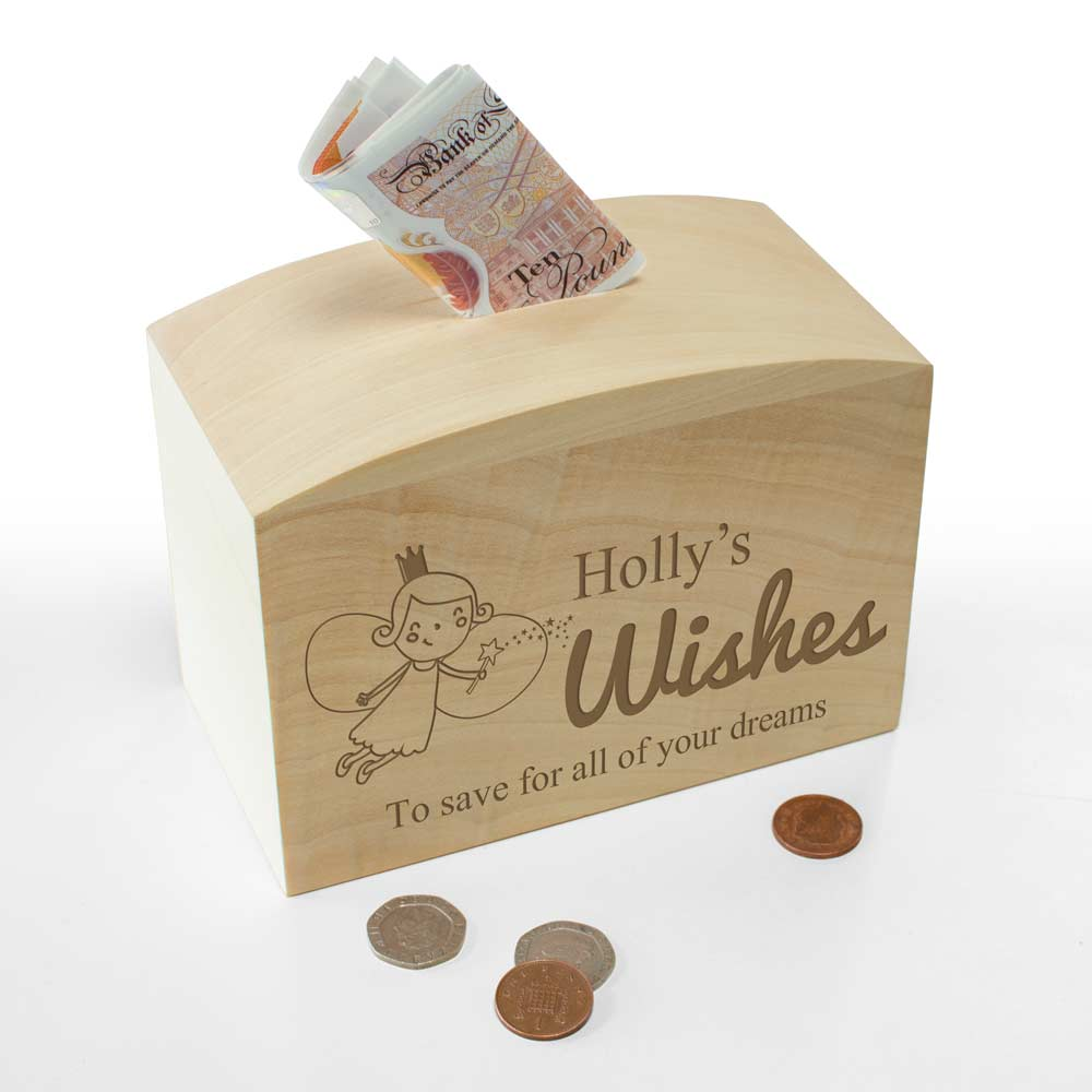 Personalised Wooden Money Box Fairy Wishes