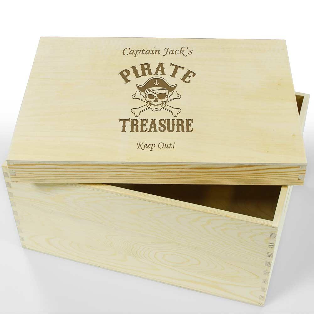 Personalised Wooden Keepsake Box Pirate Treasure