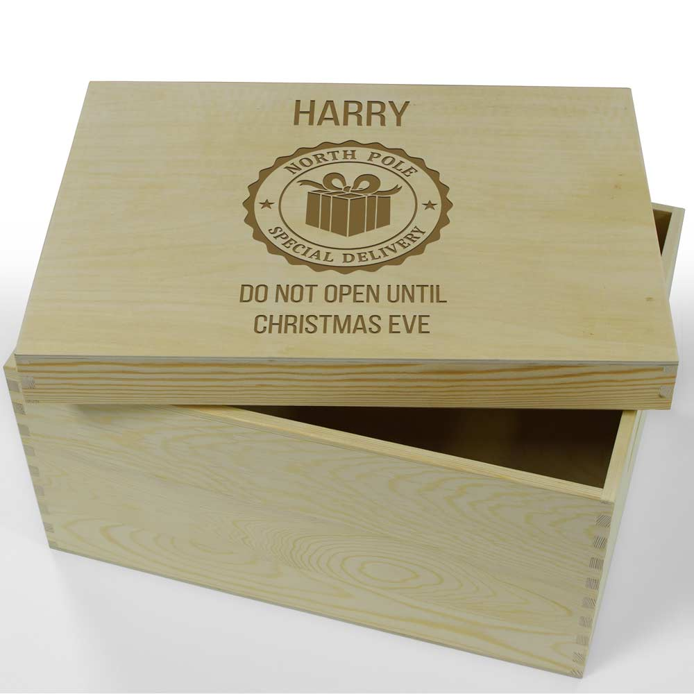 Personalised Hinged Wooden Christmas Eve Box