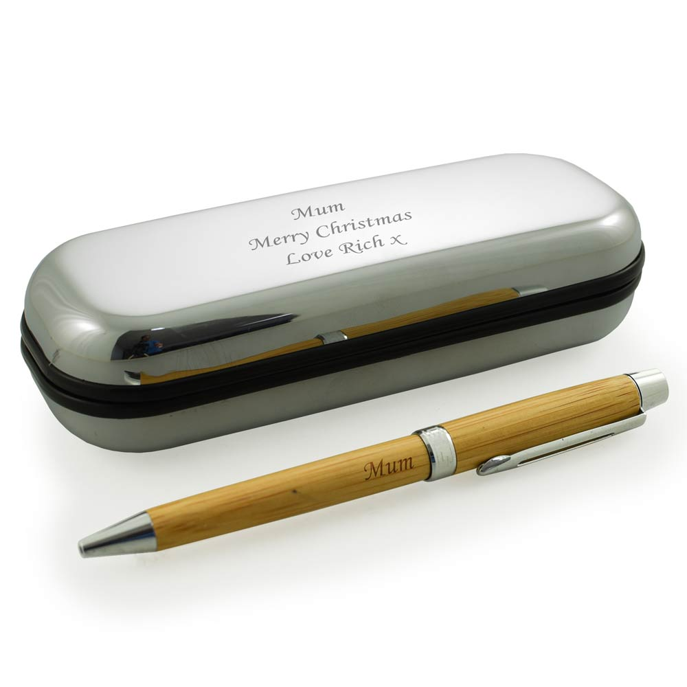 Personalised Wooden Pen With Silver Gift Box - Click Image to Close