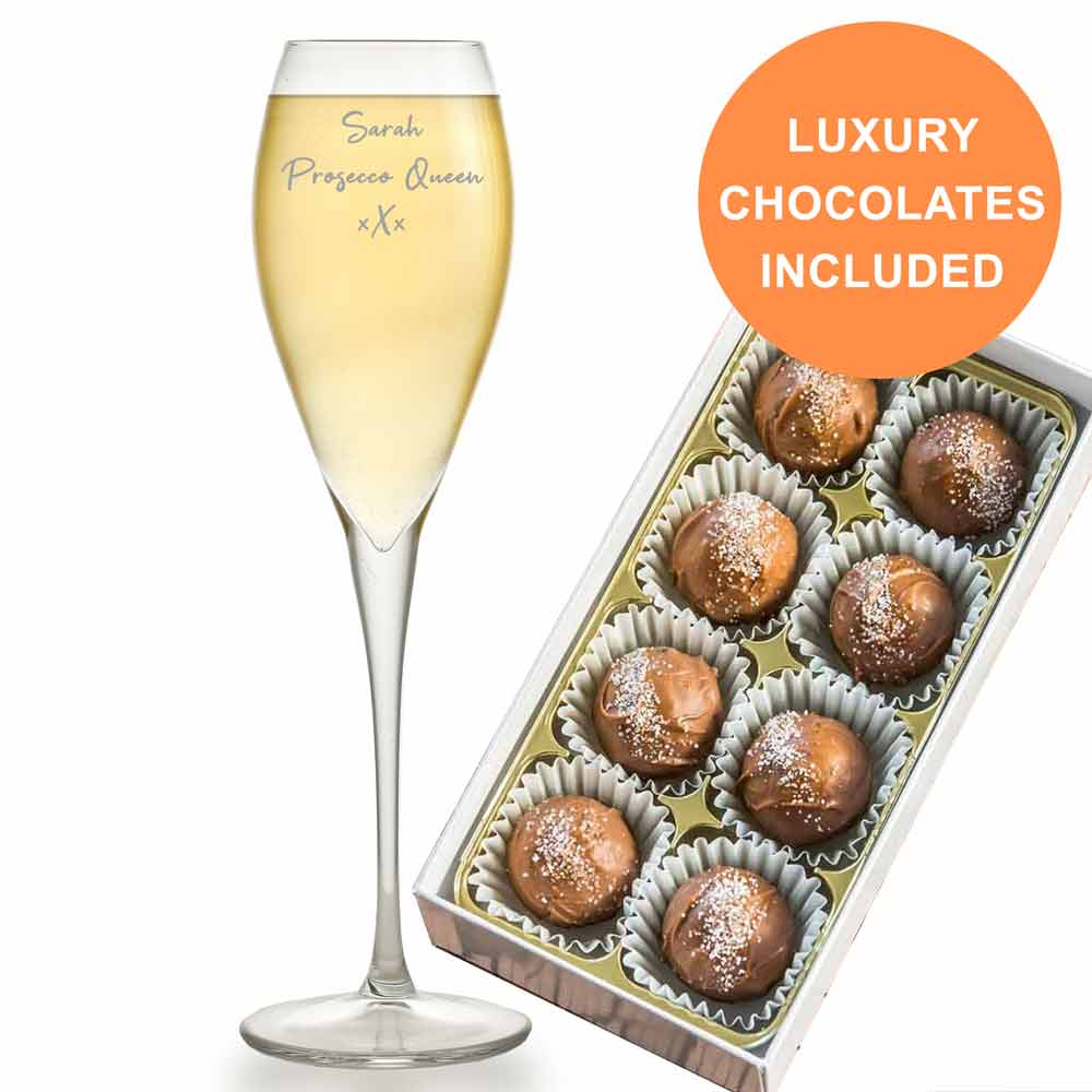 Personalised Prosecco Glass With Luxury Prosecco Truffles - Click Image to Close