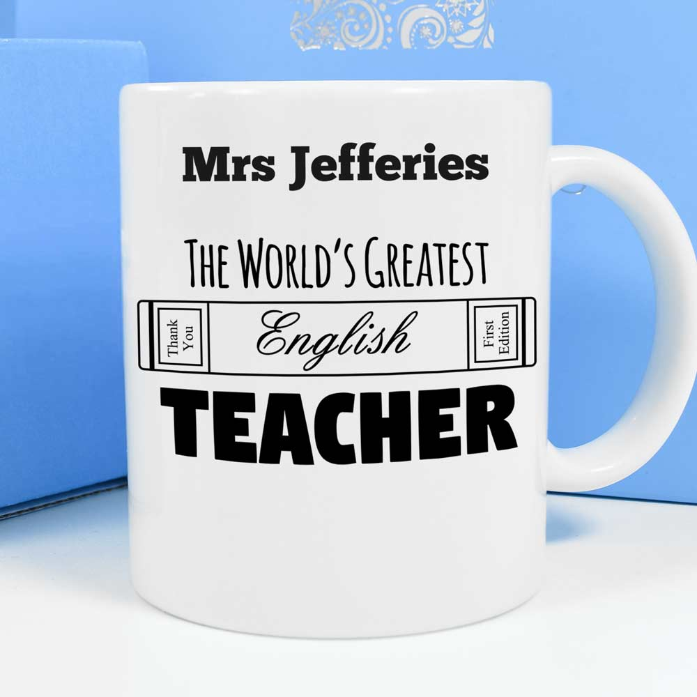 Personalised Mug - World's Greatest English Teacher - Click Image to Close