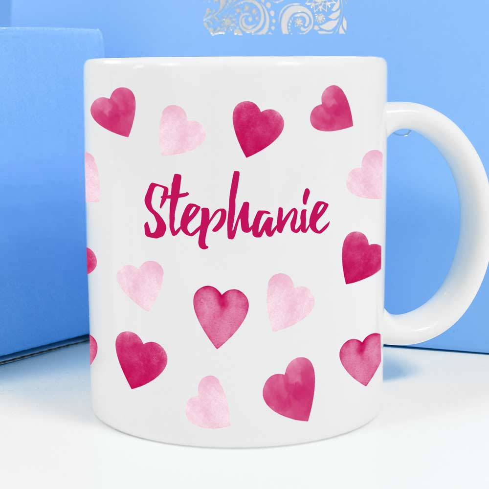 Personalised Mug - Love Hearts - Click Image to Close