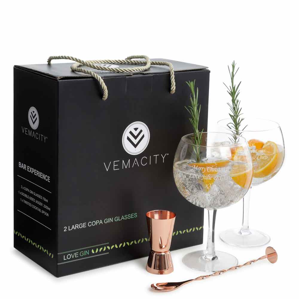 Personalised Gin Cocktail Gift Set With Rose Gold Jigger & Cocktail Spoon - Click Image to Close