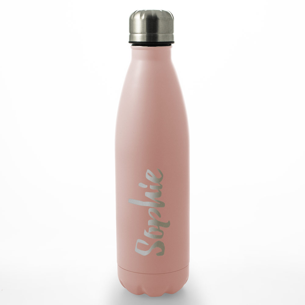 Personalised Engraved Water Bottle 500ml - Pink Any Name - Click Image to Close