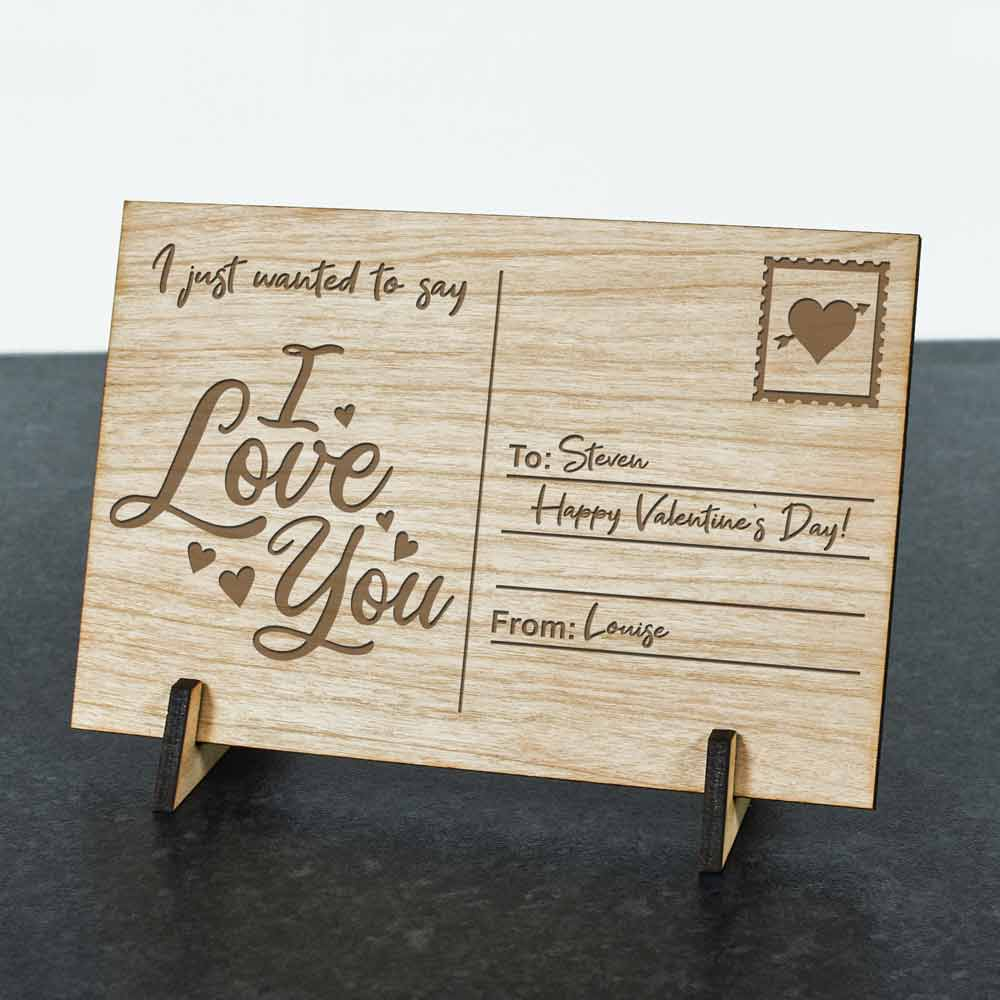 Personalised Wooden Postcard - Love Letter - Click Image to Close