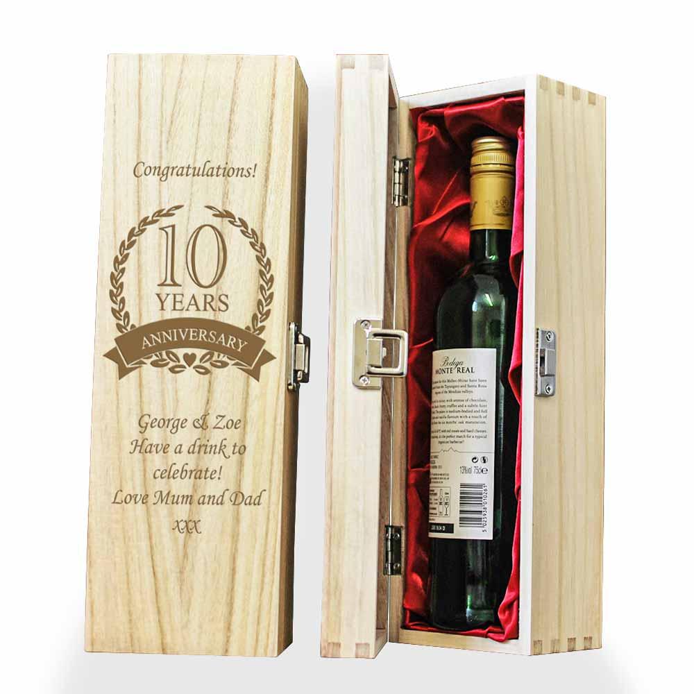 Personalised 10th Wedding Anniversary Wooden Wine Box Tin Anniversary Gift Idea