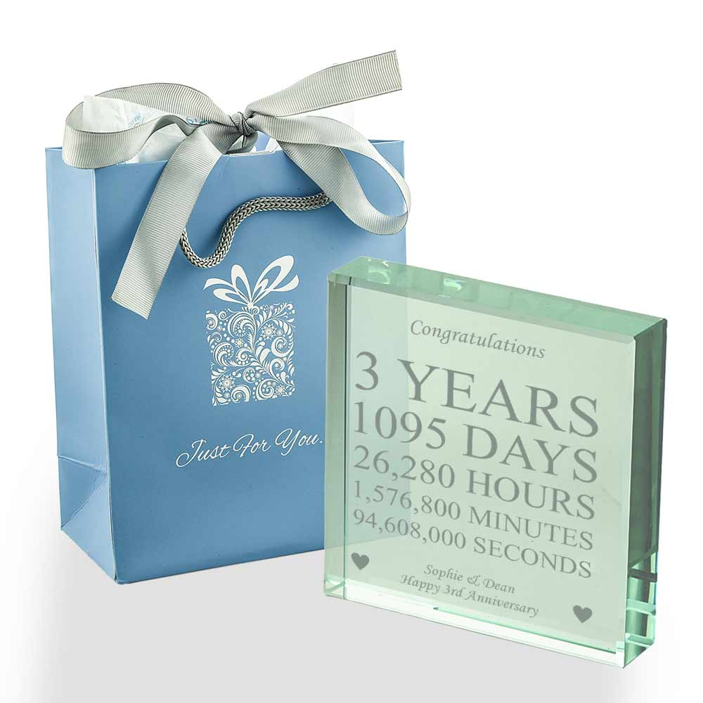 Personalised 3 Years Of Marriage Glass Token Leather Anniversary Gift Ideas