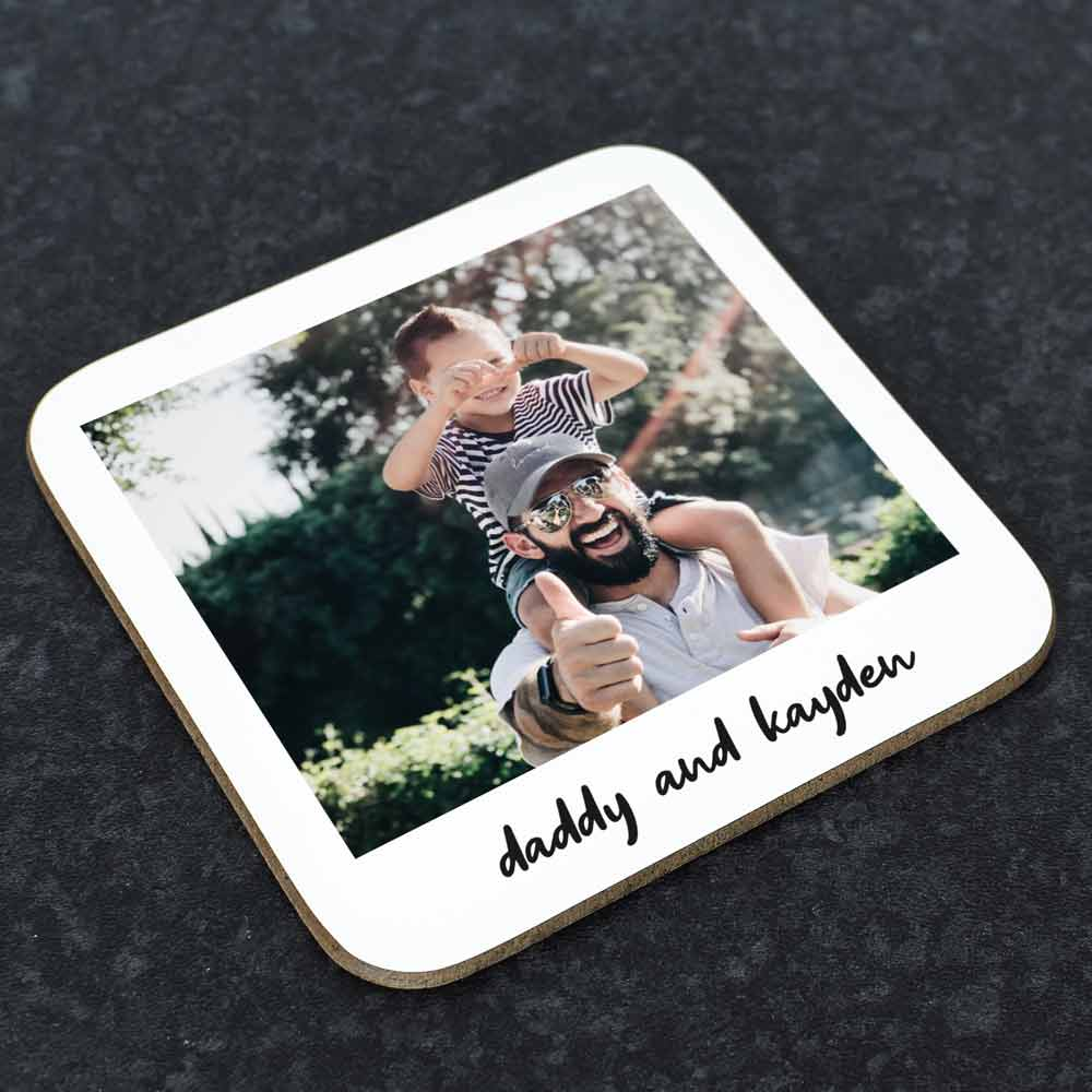 Personalised Polaroid Photo Coaster For Dad - Click Image to Close