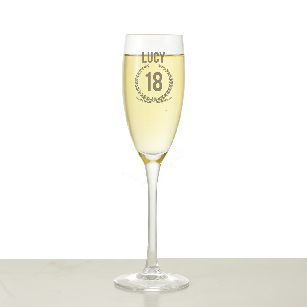 Personalised Champagne Flute - Wreath design - Click Image to Close
