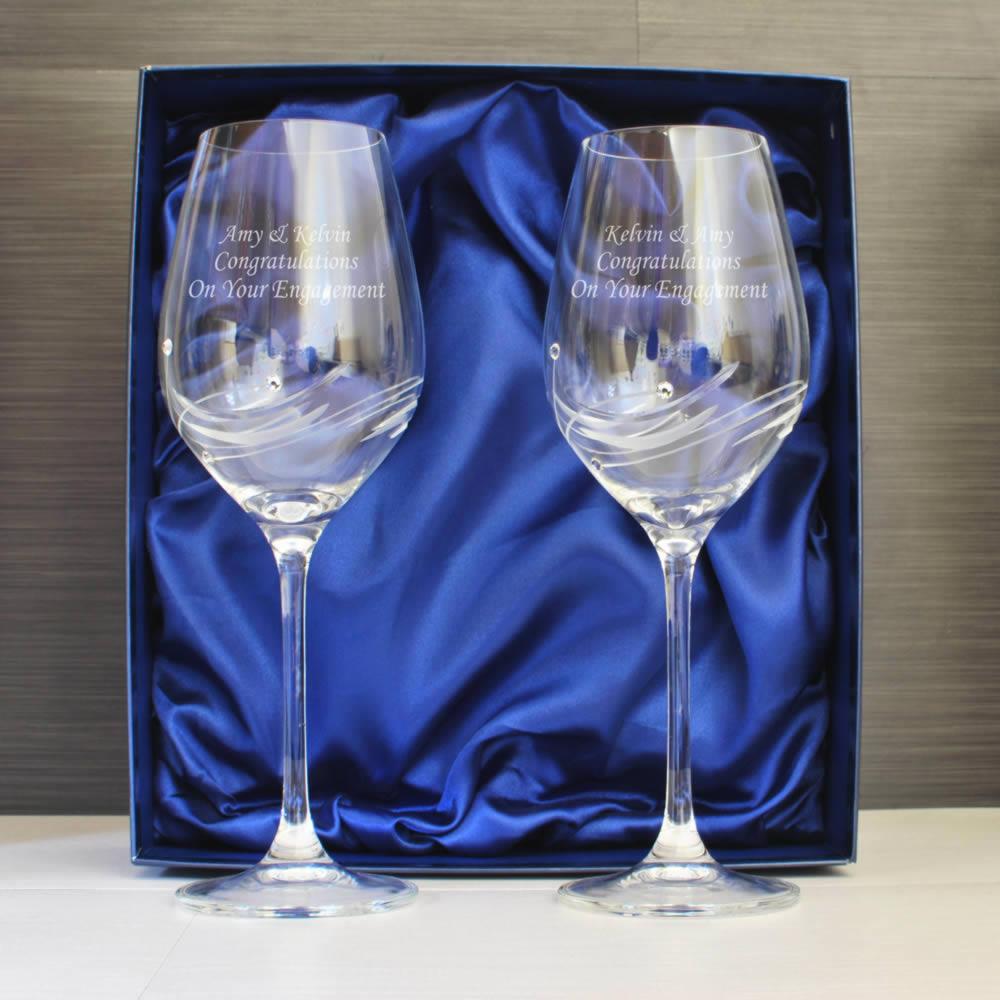 Personalised wine glass set with swarovski elements pair - Swarovski stemware ...
