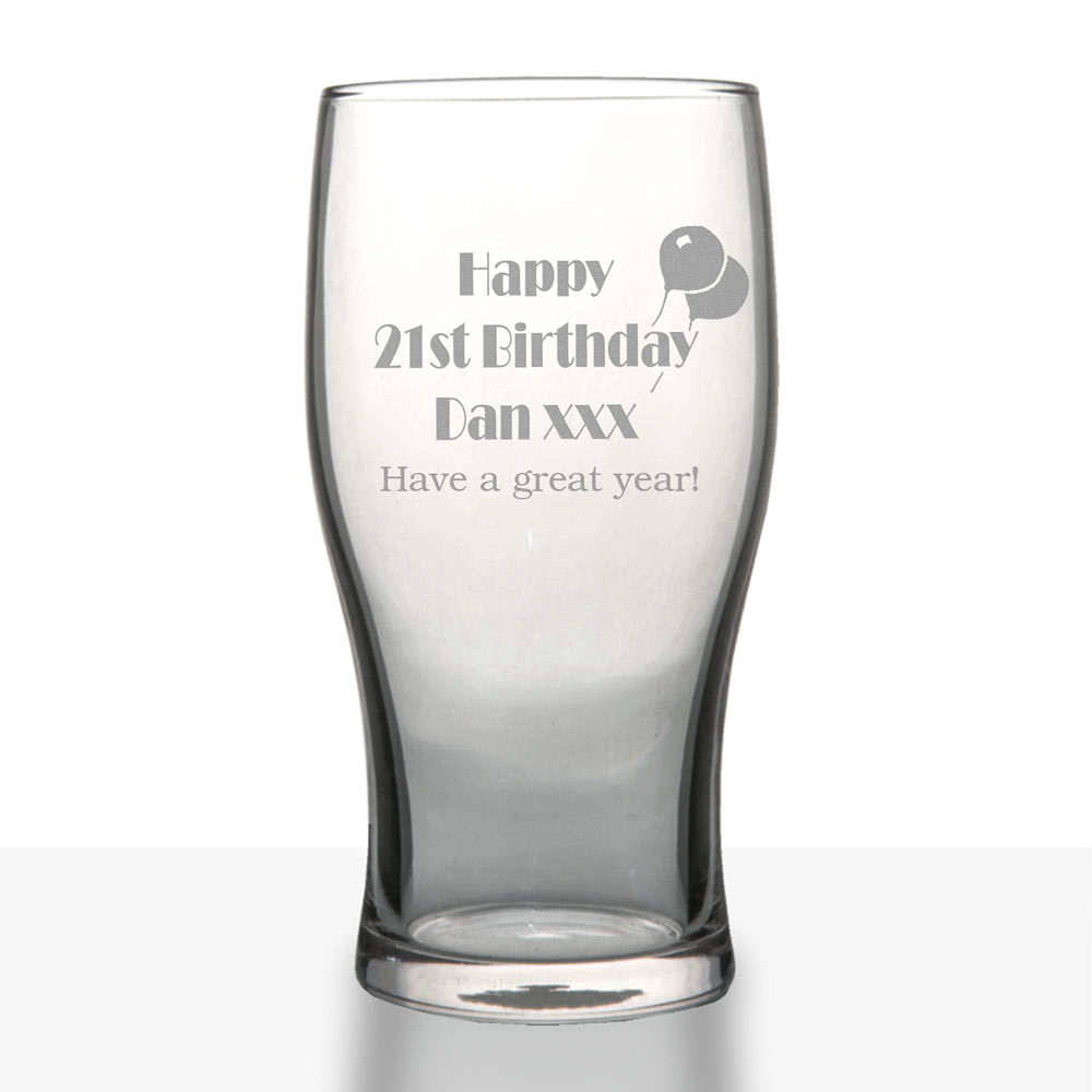 Personalised 21st Birthday Gifts Pint Glass