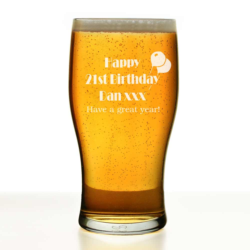 Uk 21: Personalised 21st Birthday Gifts Pint Glass