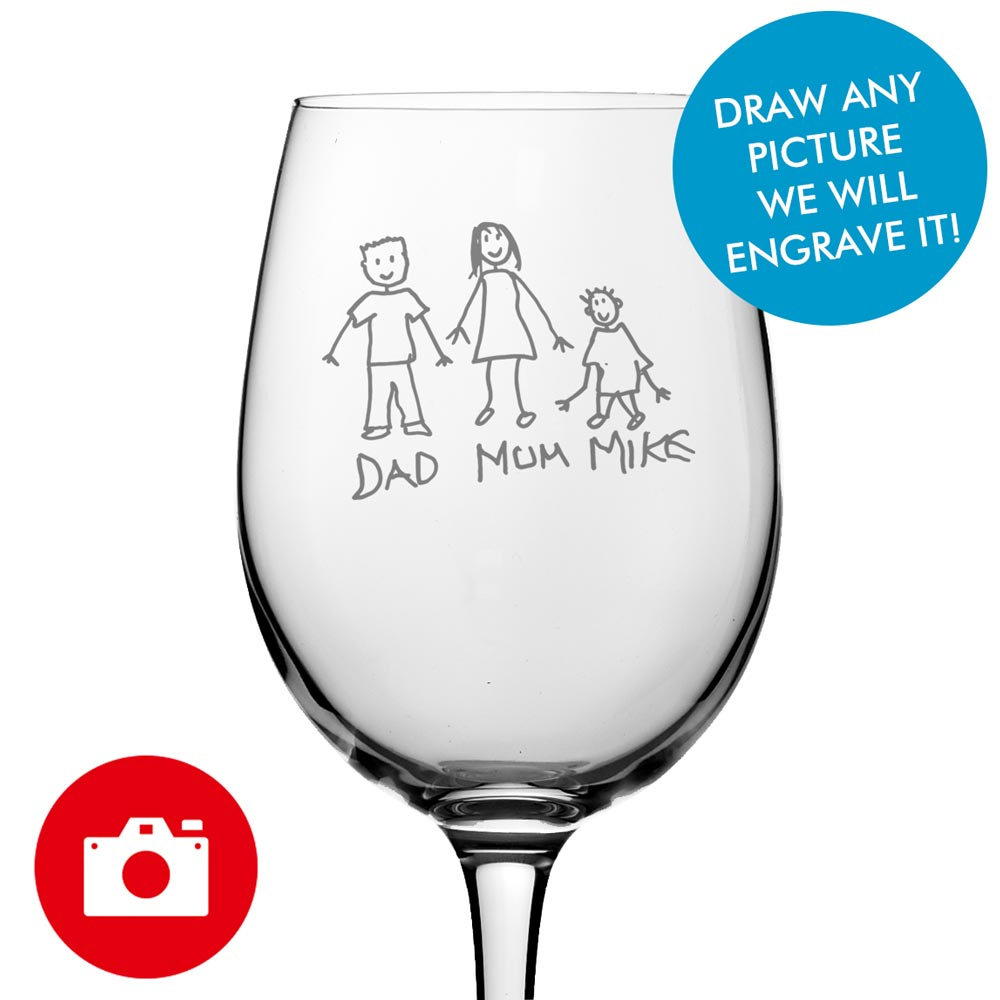 Have Your Very Own Hand Drawn Image On This Engraved Wine Glass