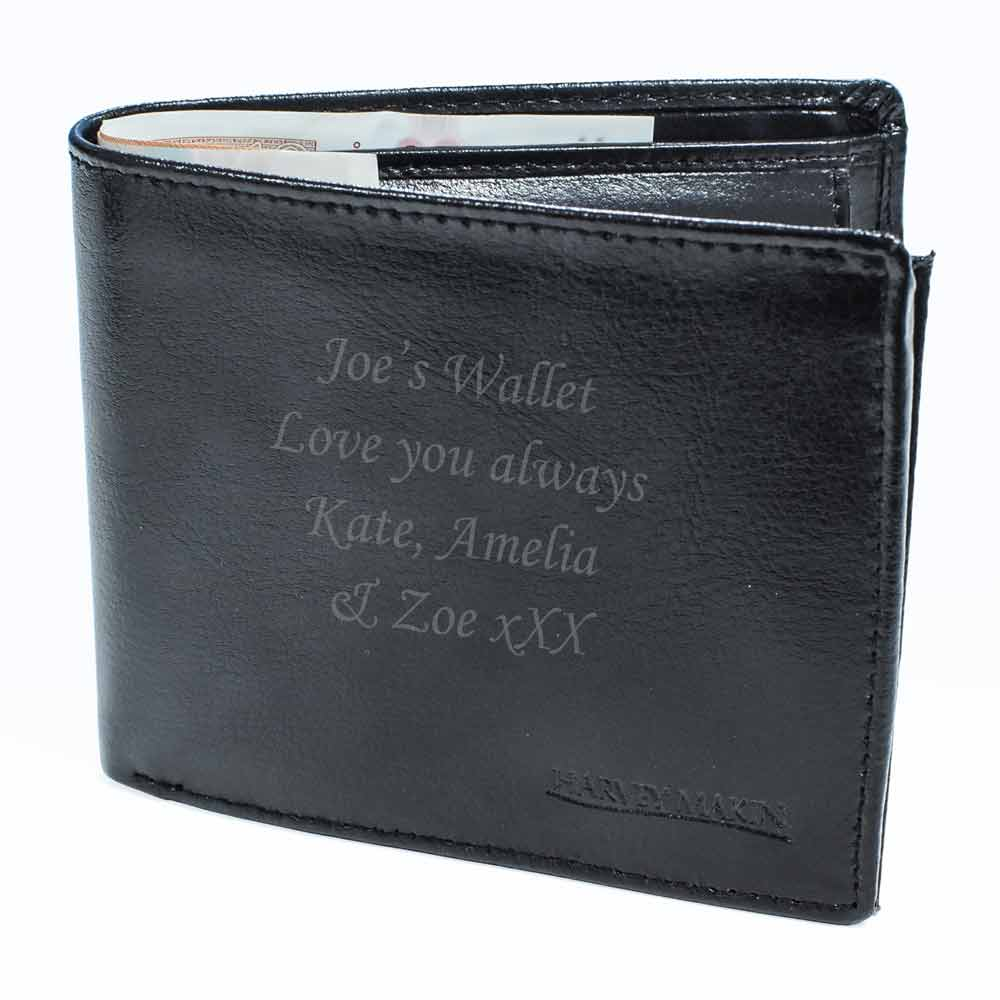 Personalised Black Leather Wallet 163 25 49