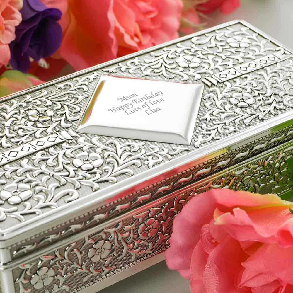 Silver Antique Personalised Jewellery Box - Click Image to Close