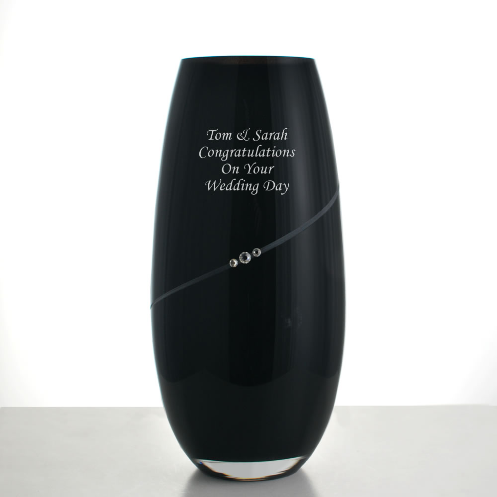 Engraved Black Crystal Vase