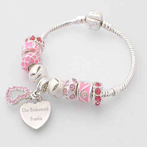 bridesmaid jewellery personalised bracelet pink