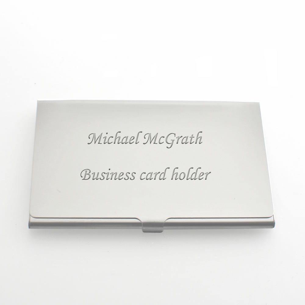 Silver Personalised Business Card Case