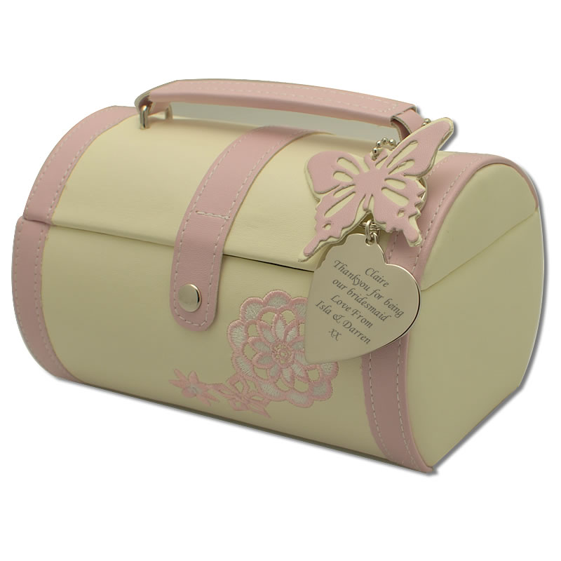 Personalised Pink And Cream Butterfly Jewellery Box