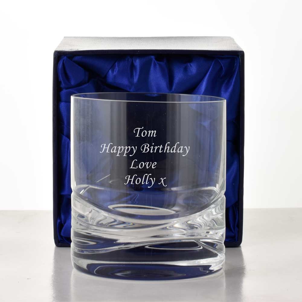 Personalised Whisky Glass Wave Cut