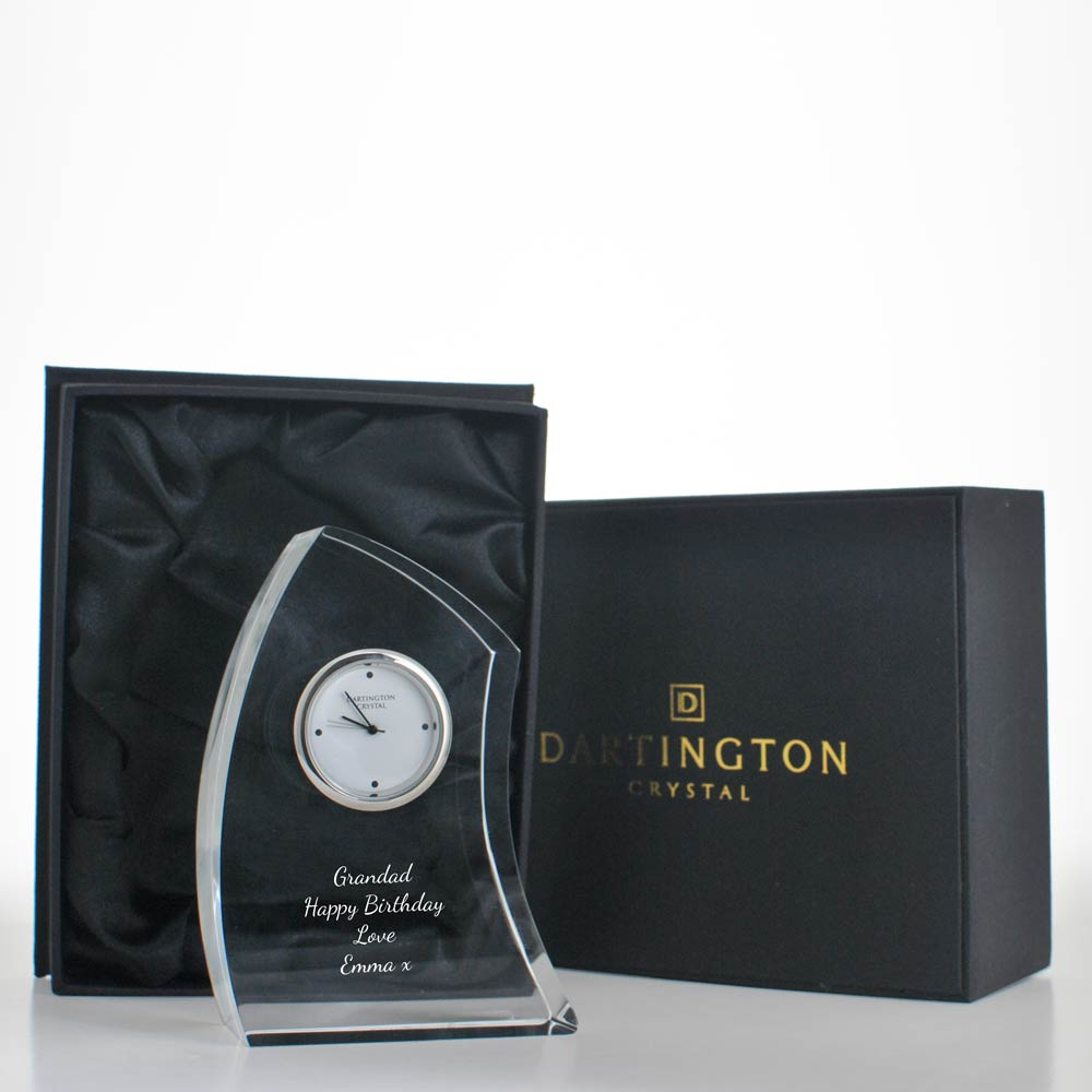 Personalised Crystal Clock By Dartington Crystal Crescent Design - Click Image to Close