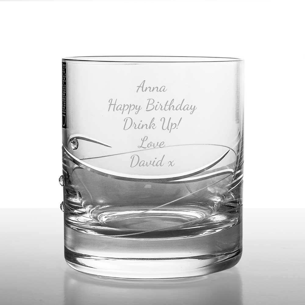 Personalised Diamante Crystal Whisky Glass Set