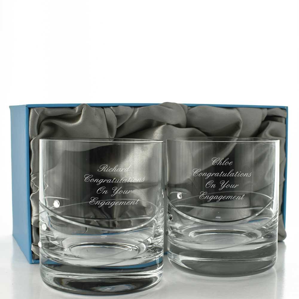personalised diamante crystal whisky glass set. Black Bedroom Furniture Sets. Home Design Ideas