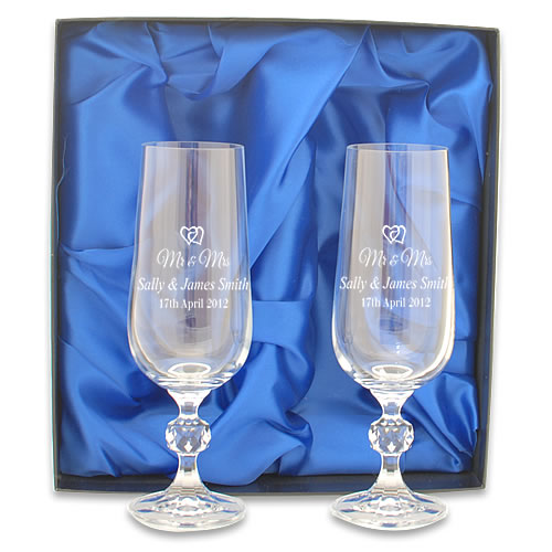 Mr And Mrs Engraved Crystal Champagne Flutes