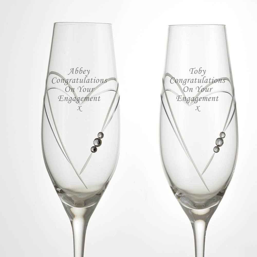 17e72c62317 Personalised Love Heart Champagne Flutes With Swarovski Elements ...