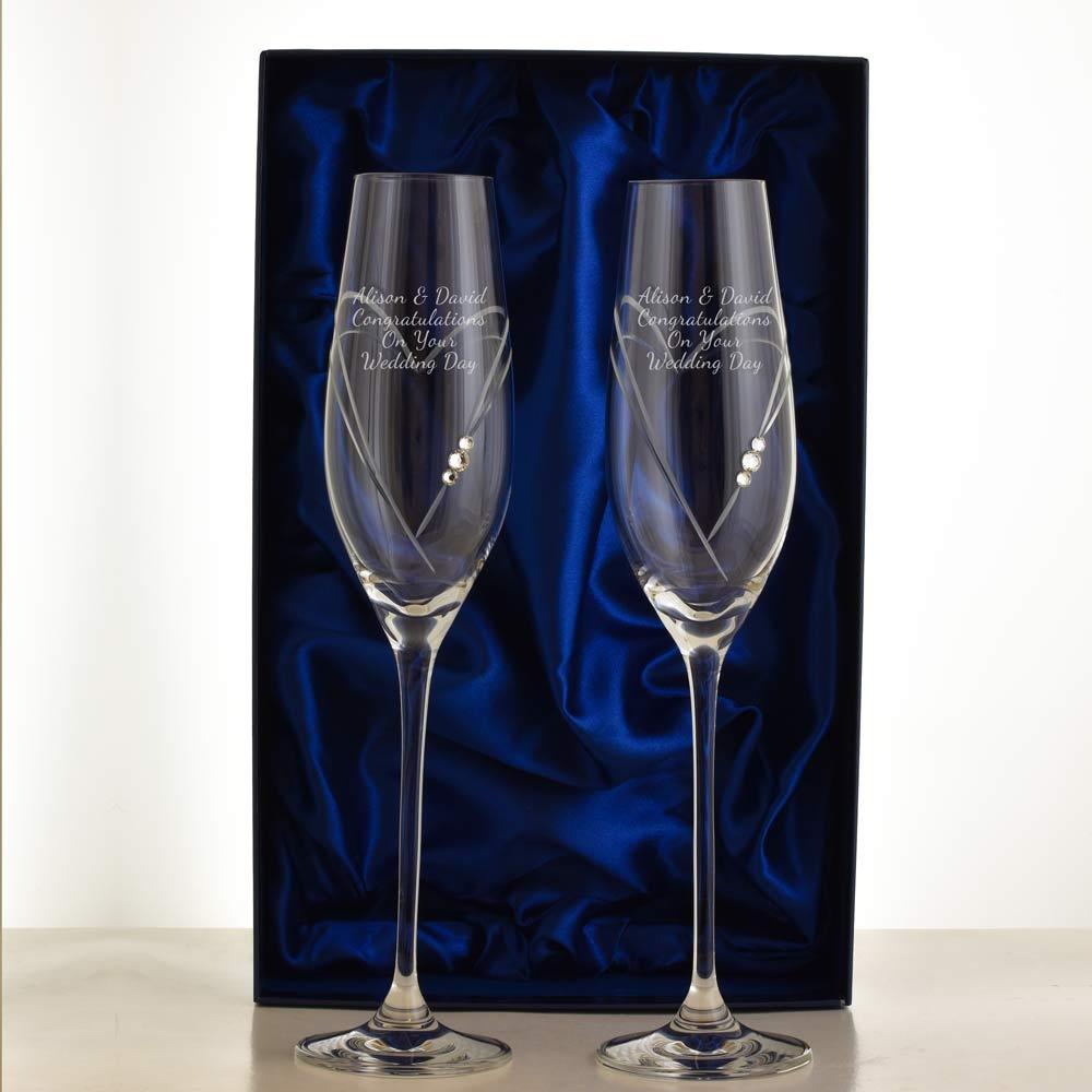 Personalised swarovski crystal love heart champagne flutes - Swarovski stemware ...