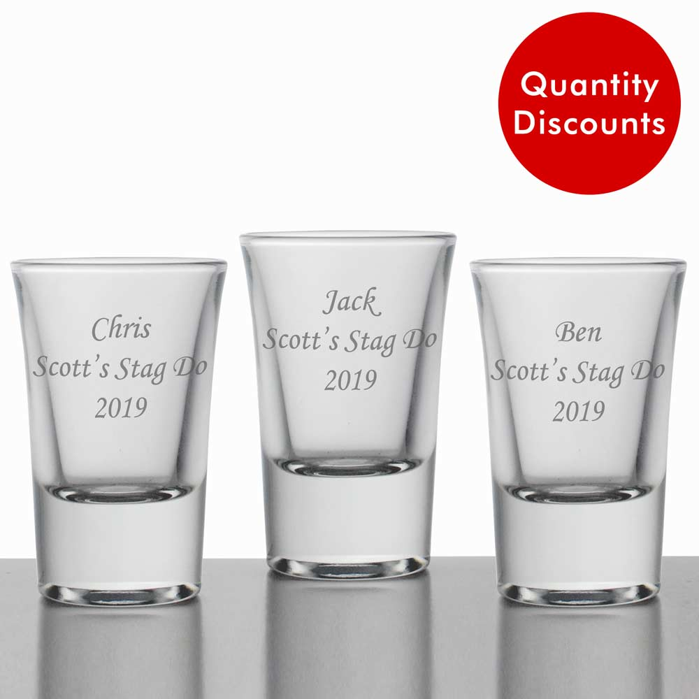 Personalised Shot Glasses Quantity Discounts