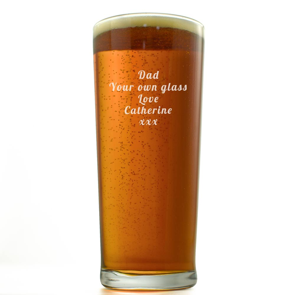 Engraved Beer Glass With Logo And Message