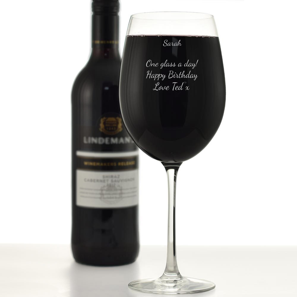 Personalised Giant Wine Glass Holds A Full Bottle Of Wine