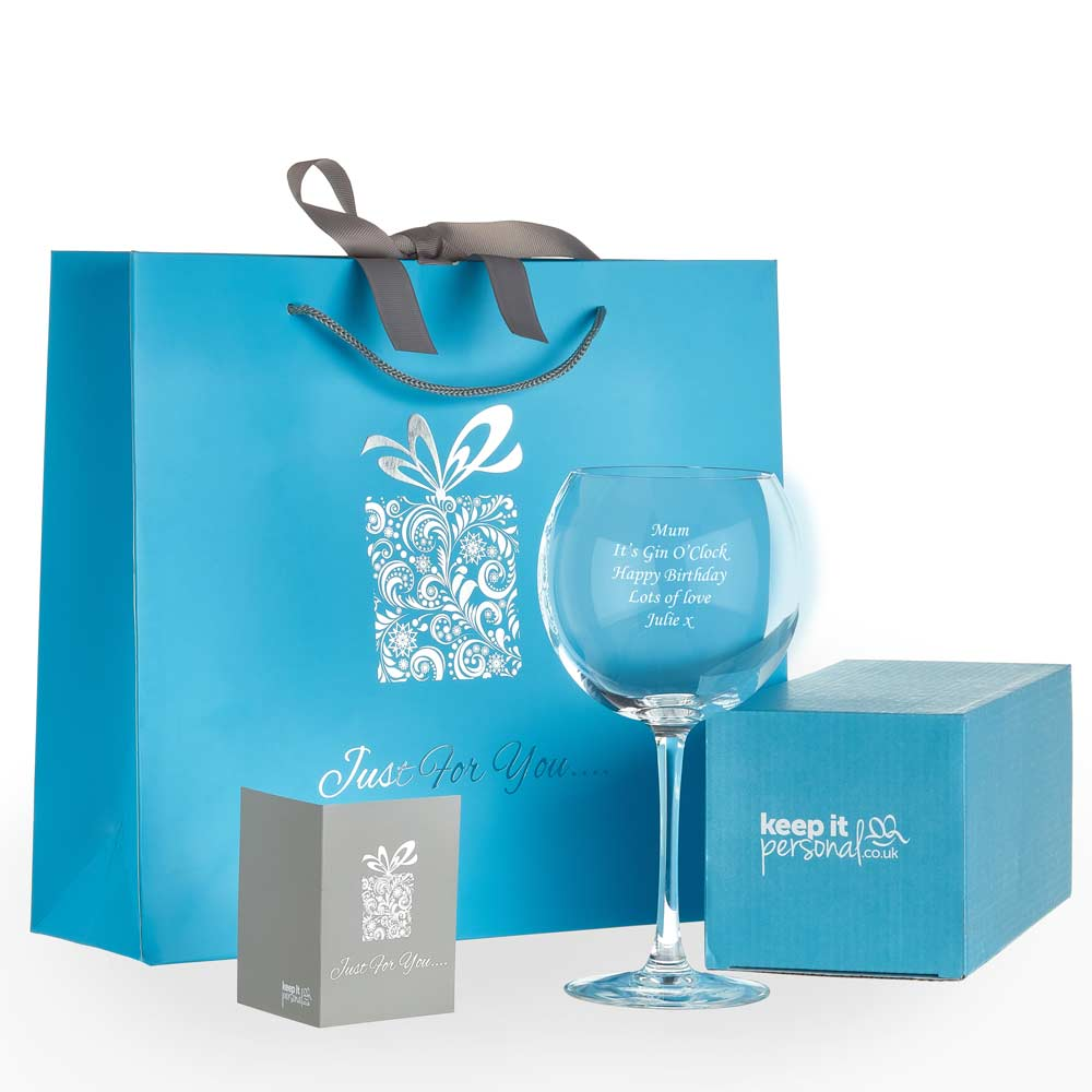 Personalised Gin Balloon Glass With Luxury Gift Bag And Box - Click Image to Close