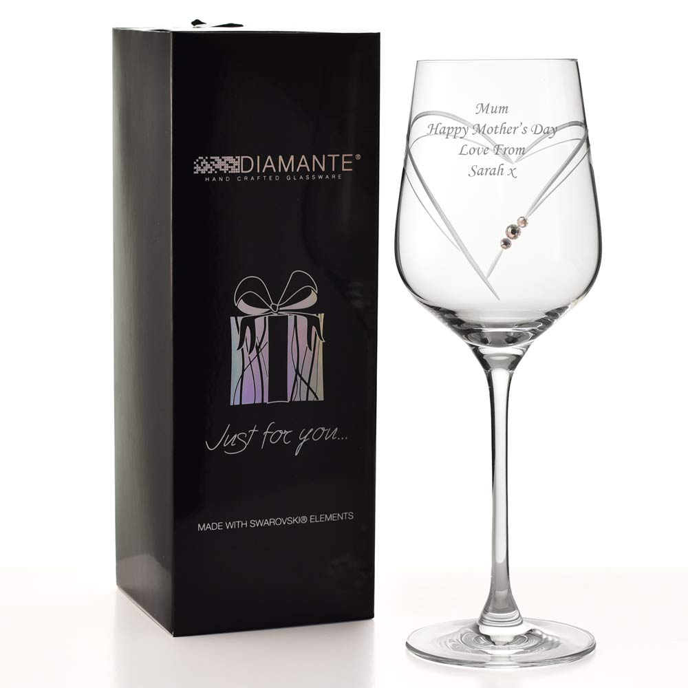 Engraved Swarovski Heart Wine Glass Personalised By Keepitpersonal Co Uk