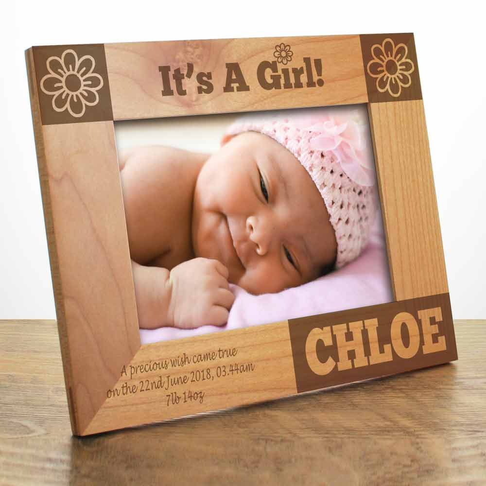 Its a girl personalised baby photo frame negle Choice Image