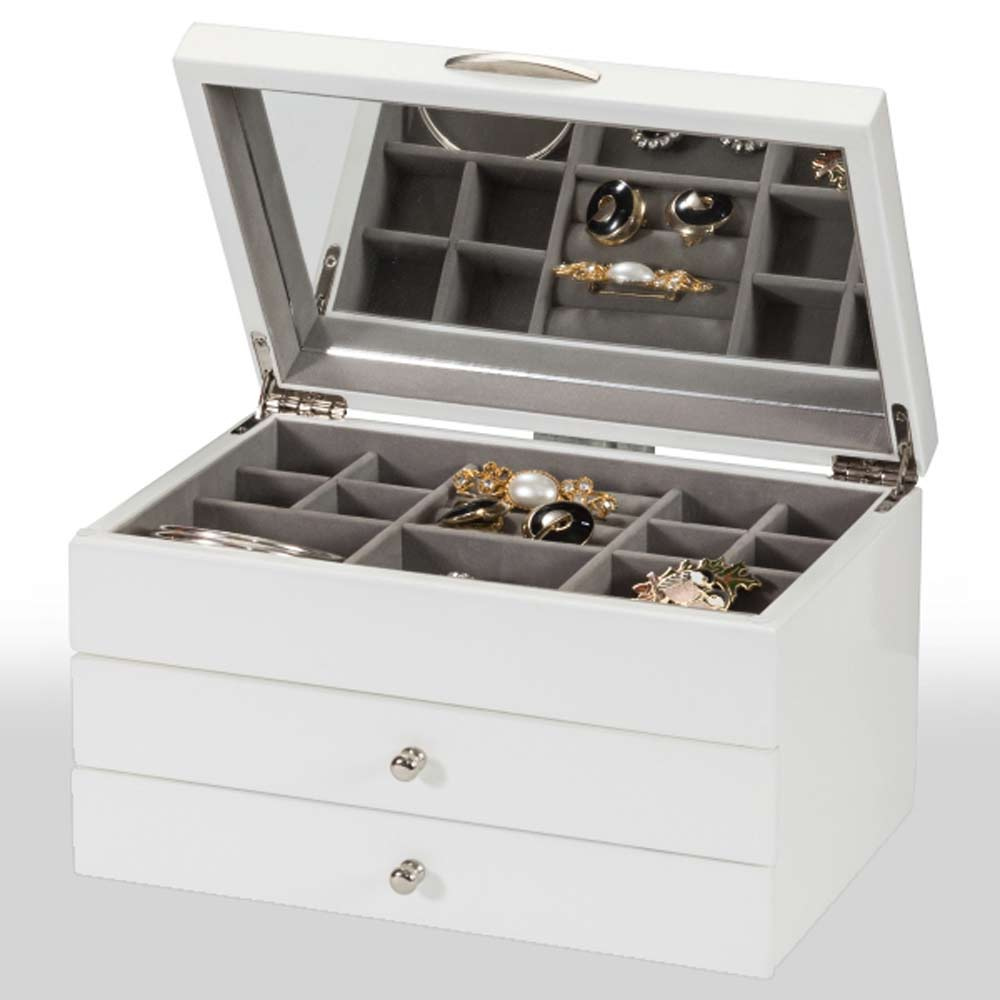 Personalised Cream Jewellery Box With Mirror